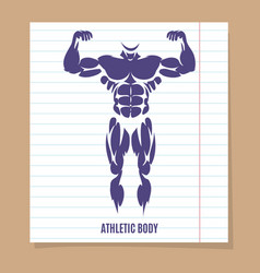 male body silhouette on lined page vector image vector image