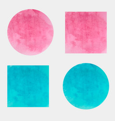 round and square watercolor backgrounds vector image