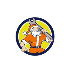 Santa Claus Mechanic Spanner Circle Cartoon vector image vector image