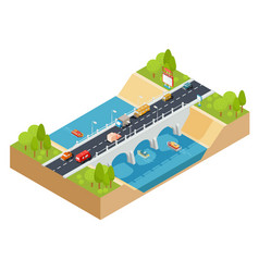 3d isometric cross section of a landscape vector image