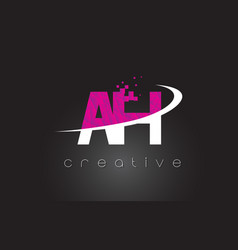 Ah a h creative letters design with white pink vector