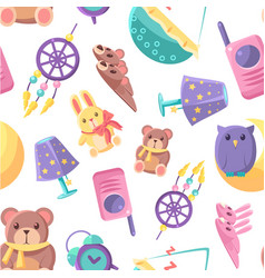 bashop seamless pattern with goods for babies vector image