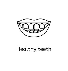 beautiful mouth smile and teeth thin line icon vector image