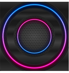 black glossy and blue purple neon circles on dark vector image
