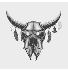 Bull skull isolated on white Ethnic sign vector