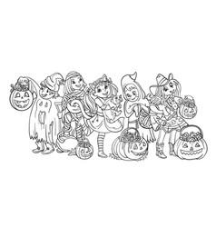 cartoon children in halloween vector image