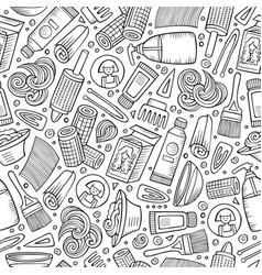 cartoon hand-drawn hair salon seamless pattern vector image