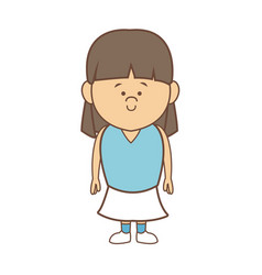 Cartoon little girl smile standing character vector