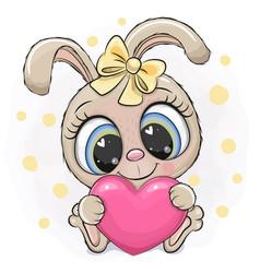 Cartoon rabbit girl with heart on a white vector