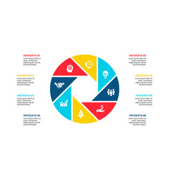 Cirle infographic with 8 options or steps vector