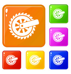 cogwheel icons set color vector image