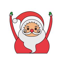 color image cartoon half body fat santa claus with vector image