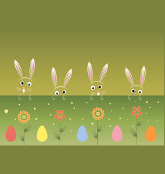 colorful happy easter greeting card with rabbits vector image