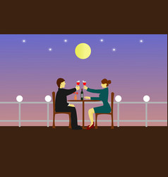 Couples are sipping wine on a wooden table vector