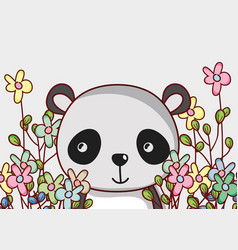 Cute panda bear doodle cartoon vector