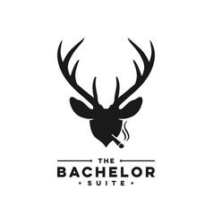 Deer antler head logo vector