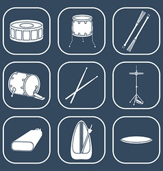 Drum icons Silhouette Flat design vector image