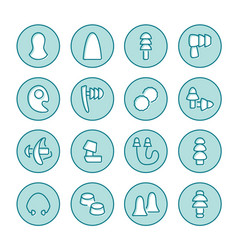Earplugs flat line icons healthy sleep without vector