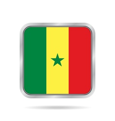 flag of Senegal shiny metallic gray square button vector image