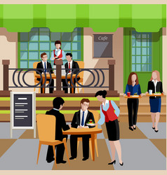 Flat business lunch people concept vector