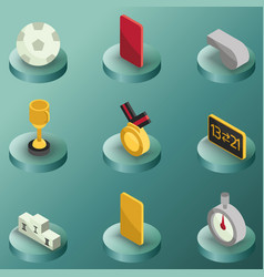 Football color isometric icons vector