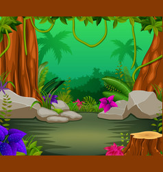 Forest scene with lots of trees vector