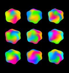 Formless fluorescent rainbow jelly like drops vector
