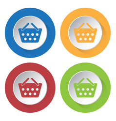 four round color icons shopping basket vector image