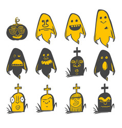 fun halloween avatars set vector image