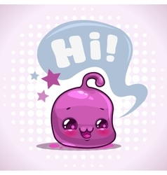 Funny cartoon little purple kawaii character vector