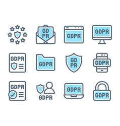 gdpr general data protection regulation icon set vector image
