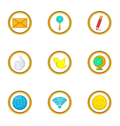 Global net icon set cartoon style vector