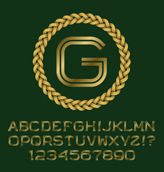 Gold letters and numbers with initial monogram vector