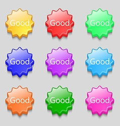 Good sign icon Symbols on nine wavy colourful vector image