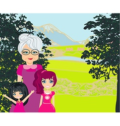Grandmother with grandchildren on a walk in the vector