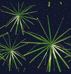 green plants seamless night stars background vector image
