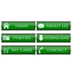 Green web icon set vector image