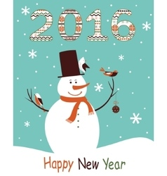 Greeting card 2016 with snowman vector image