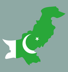 grunge map of pakistan with pakistanian flag vector image