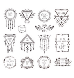 Hand drawn boho style frames and decorations vector
