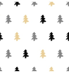 Hand drawn Christmas tree fir seamless pattern in vector