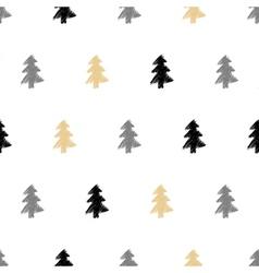 hand drawn christmas tree fir seamless pattern vector image