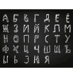 Hand drawn doodle cyrillic alphabet chalk on board vector