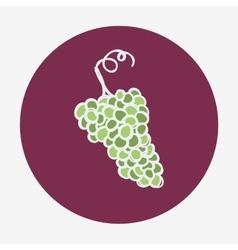 Hand-drawn grape ripe icon White wine vector image