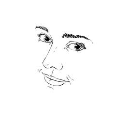 hand-drawn monochrome portrait of delicate vector image