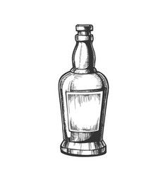 Hand drawn whisky bottle with blank label vector