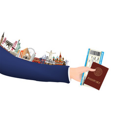 hand hold boarding pass passport and landmark vector image
