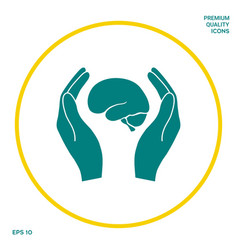 Hands holding brain - protection icon graphic vector