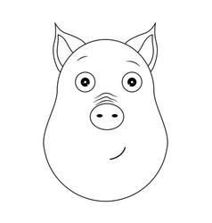 head of serene pig in outline style kawaii animal vector image