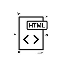 Html file format icon design vector